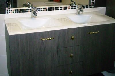 Meuble de qualité double vasque avec 2 portes et 2 tiroirs
